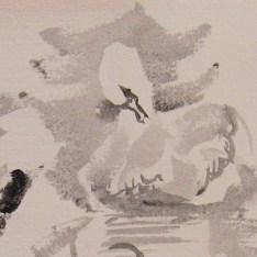 black watercolour: preening