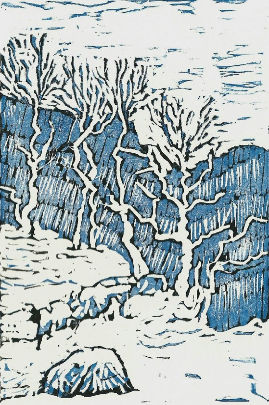 Malham cove in snow, reduction linocut