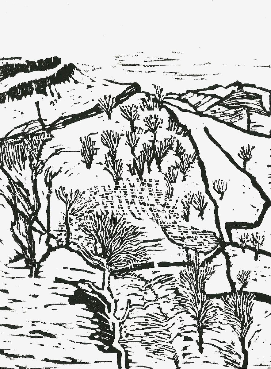 20140210 linocut Yorkshire hills in snow 1