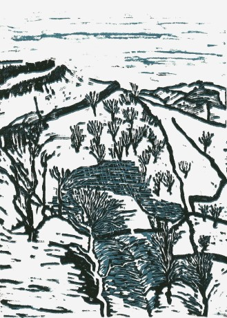 20140210 linocut Yorkshire hills in snow 2