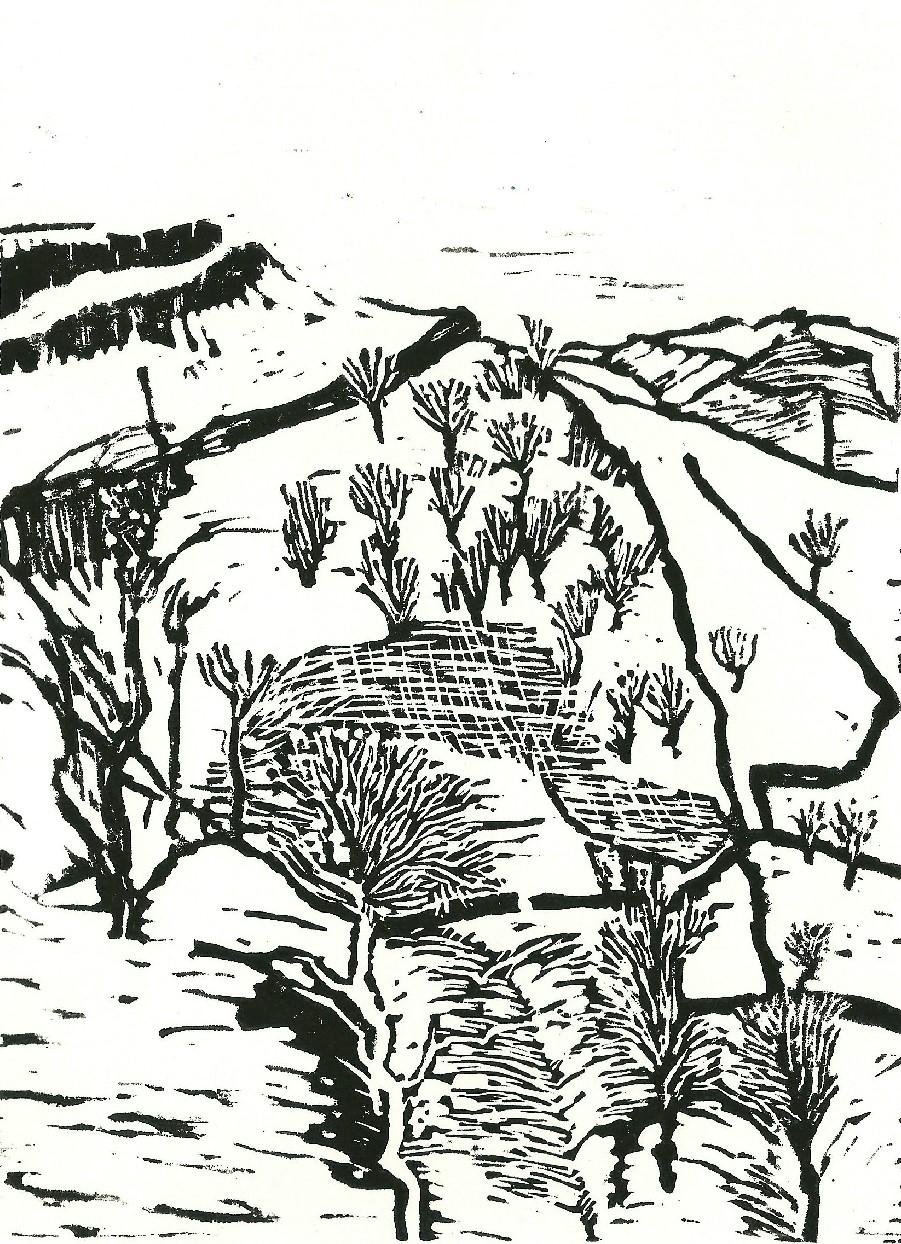 20140210 linocut Yorkshire hills in snow