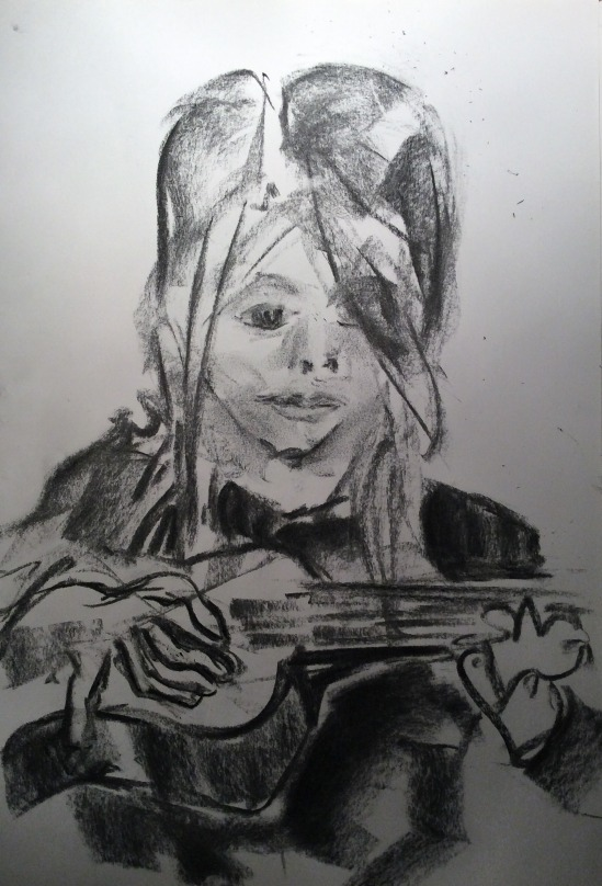 small girl playing ukulele and drawing me (1)