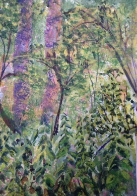 2015-08-08 Siden Hill Woods watercolour conte crayon (6)